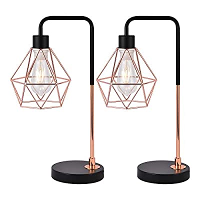 COTULIN Set of 2 Rose Gold Modern Industrial Table Lamp,Desk Lamp with Black Base for Living Room Bedroom Office,Delicate Design Bedside Lamp with Geometric Cage Shade