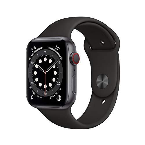 Apple Watch Series 6 Cellular + Gps, 44 mm, Cinza Espacial, Pulseira Esportiva Preto Mg2e3be/a