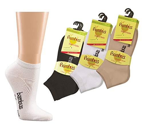 Wowerat 6 Paar Bambus Sneaker Socken Sneakersocken für Damen Herren schwarz weiß beige WO (35/38, weiß)