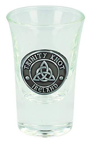 Boxed Irish Shot Glass With Celtic Pewter Trinity Knot Ireland Badge