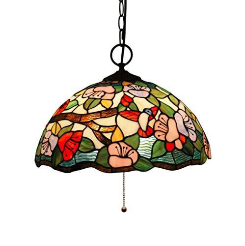 Equipo para el hogar Iluminación colgante de estilo retro Candelabro para comedor Pantalla de vidrio teñido de 16 '3 Luminaria para vestíbulo de la casa Cocina Isla Techo Lámpara colgante Pandant 1