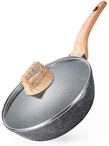Durable Wok à fond plat avec pot antiadhésif wok ménager poêle cuisinière à gaz cuisinière à induction multi-fonctions pour pot à la mode pour la nourriture délicieuse (Color : 28cm)