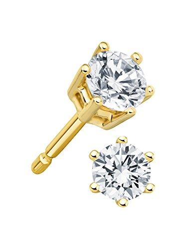 Diamant Ohrstecker Lupenrein 0,50 ct 585 14 Kt Gold Klassische 6er Krappen Fassung Brillant Schliff