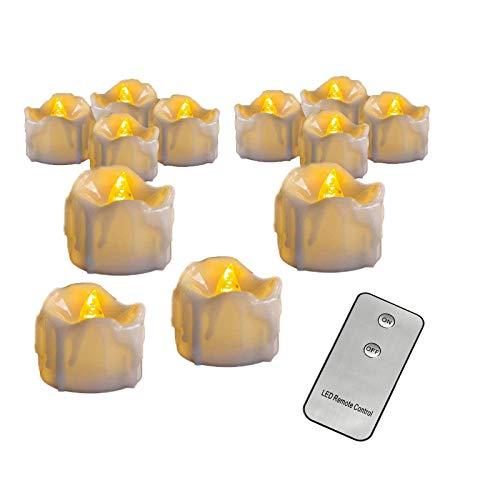 SGR SHOPS Candelabros eléctricos pequeños Velas de luz LED para té con...