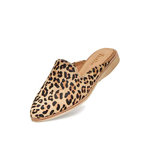 Rollie Women's Madison Mule Camel Leopard Pony, Leopard Print Haircalf Mules Brown Flat Shoes for Women with Open Back, Size 9 US / 40 EU