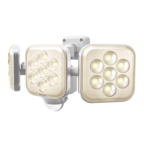 ムサシ(MUSASHI) センサーライト ホワイト 本体サイズ:幅29.5×奥行12.5×高さ14.6cm 8W×3灯フリーアーム式LEDセンサーライト 電球色 LED-AC3025