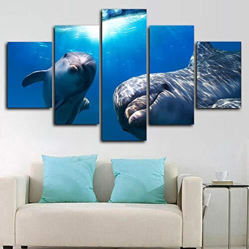 194Tdfc Póster Mar Submarino De Delfines 5 Piezas Cuadros Lienzo Decoracion Salon Modernos De Pared Papel Murales Pintura Hogareña Salón Dormitorio De HD Póster Fotos 150 * 80Cm