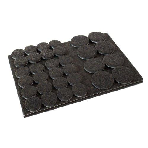 112 Filzgleiter rund und 2 Filzzuschnitte selbstklebend im Set braun - extra dicker und haltbarer Filz Möbelgleiter Bodengleiter Stuhlgleiter Fußbodenschutz Parkettschutz - Made in Kanada