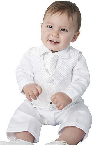 4Stück Tauf-Anzug in weiß Gr. 0-3 Monate, weiß