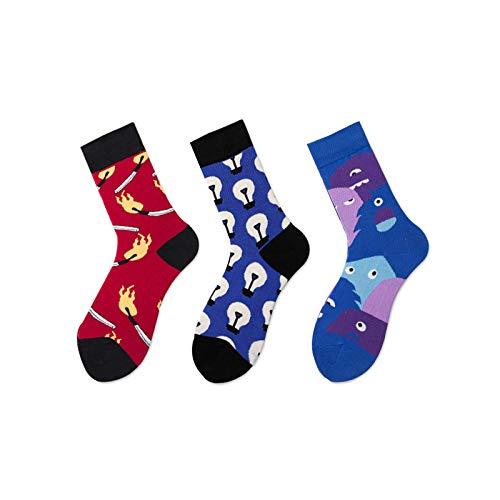 Sokken Kleurrijk, 3 paar lente en zomer, blauwe sokken, modieus, eenvoudig abstract patroon, katoen, ademend, comfortabele slang, vrouwelijke sokken, katoenen sokken, gepersonaliseerde kleding, accessoires, tas