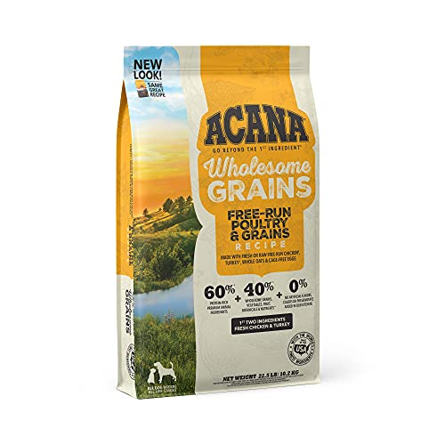 Acana Wholesome Grains Dry Dog Food, Real Chicken & Turkey, Cage-Free Eggs, Gluten Free, 22.5lb