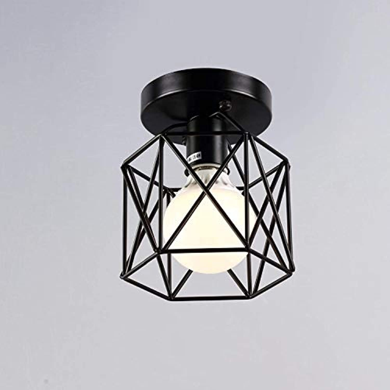 Deckenleuchte Modernes Sechseck-Design mit 1 Leuchte E27 Deckenleuchte Deckenleuchte Deckenleuchte Küchenleuchte Eisenrahmen Lampe  13,5 cm Schwarz lackiert, A