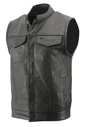 Mens Club Style Vest in Premium Naked Cowhide Leather, Patch Access Feature, Concealed Gun Pocket Biker Vest (Black, 3X)