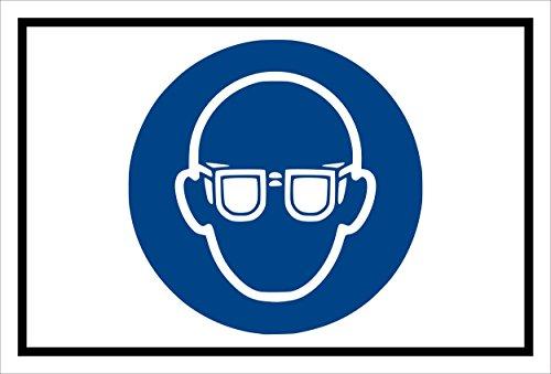 Stickers schild - Bodstekens - oogbescherming gebruiken - komt overeen met DIN ISO 7010/ASR A1.3 – S00361-007-A +++ in 20 varianten verkrijgbaar. 60x40cm - selbstklebender Aufkleber