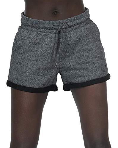 icyzone Damen Sweat Shorts Sport Kurze Hose Laufshorts Jogginghose mit Taschen (L, Charcoal)
