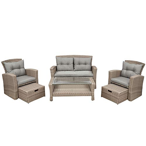 Irfora Furniture Patio Furniture Set, 4 Piece Outdoor Conversation Set All Weather Wicker Sectional Sofa with Ottoman and Cushions,Cream Color