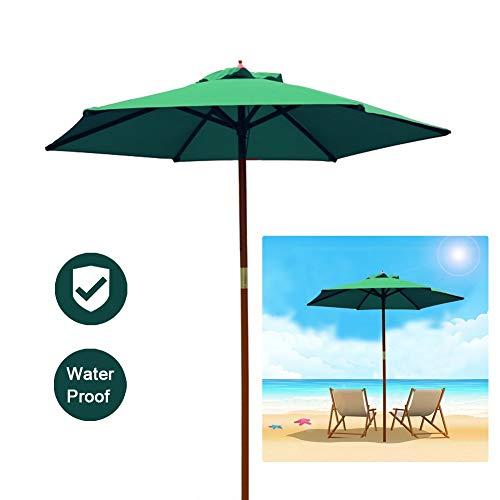 LSM Sombrillas para Patio Sombrilla de Patio, Parasol Verde para Exteriores, Toldo para Sombrilla para el Mercado, Mesa de Barbacoa o Piscina, Sombrillas Hermosas Duraderas con Poste de Madera