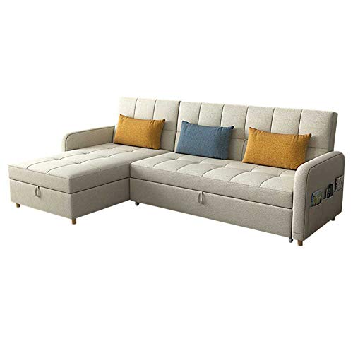 Convertible Sectional Sofa Sleeper Sofa with Pull-Out Bed L Shape Sofa Couch with Reversible Storage Chaise Modern Fabric Reversible 3-seat Sofa Couch for Living Room(Beige),Sponge filling,2.75m