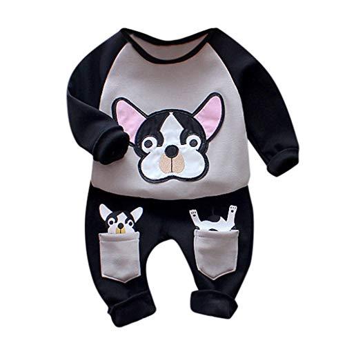 Kinder Unisex Baby 2 Stück Bekleidungsset Herbst,Neugeborenes Baby Jungen Mädchen Elefanten Gestreift Print T-Shirt Tops Set Casaul Kleidung