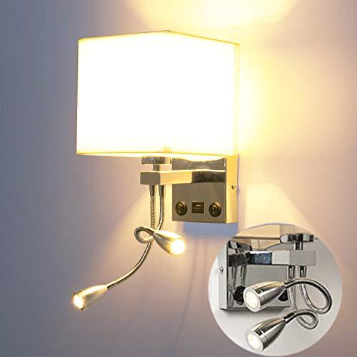 LEDMO Wandleuchten Dimmbar Nachttischlampe E27 mit Einstellbar LED Leselicht, Leselampe LED Schwanenhals Lampe LED Bettlampe dimmbar,Wandlampen Innen mit USB Hafen und 2 an/aus schaltet