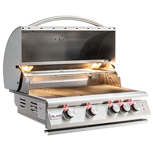 Blaze Premium LTE 32-Inch 4-Burner Built-in Propane Gas Grill with Rear Infrared Burner & Grill Lights - BLZ-4LTE2-LP