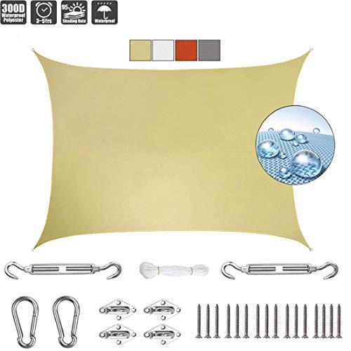 GOUDU Toldo Vela de Sombra 3x6m Toldos IKEA Impermeable 304 Acero Inoxidable Kit de Montaje para Patio, Exteriores, Jardín, Beige