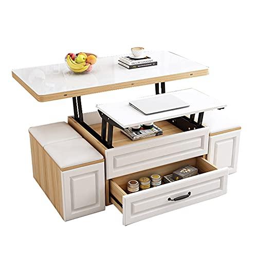 Levante el conjunto de mesa de café Mesa de comedor plegable moderna Mesa multifuncional de la computadora de la computadora Muebles de la sala de estar con la mesa de la mesa de cristal y 4 taburetes