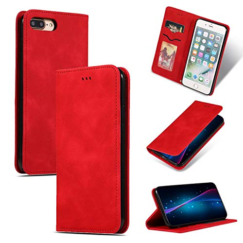 Miya Case for iPhone 11 Tablet 2019, Retro PU Leather Multi-Functional Wallet Case Durable Shockproof Cover with Card Pockets for iPhone 11 6.1 Inch(Red)