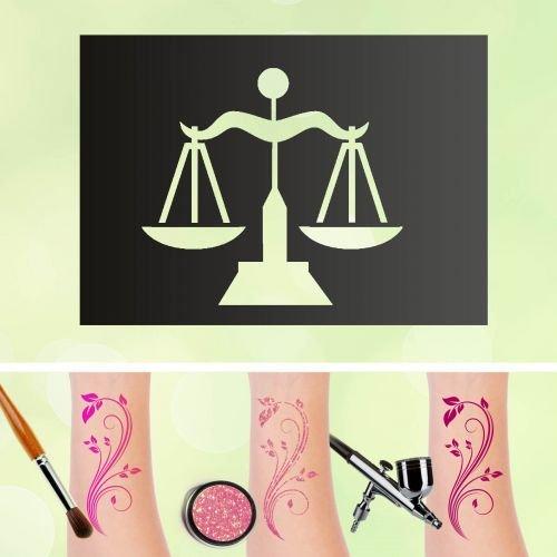 Tattoo Schablonen Waage Sternzeichen Selbstklebend Kinderschminken Airbrush Größe 30 Stk