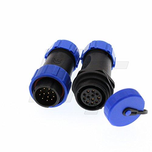 HangTon HE21 - Cable de Conexión de Desconexión Rápida e Impermeable, 12 Pines, luz LED Circular, Enchufe y Enchufe