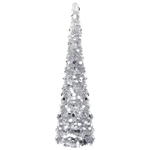 vidaXL Albero di Natale Apribile Decorazione Natalizia Addobbi Feste Abete Pino Sintetico Festoni Ornamenti Pianta Artificiale Argento 150 cm Pet