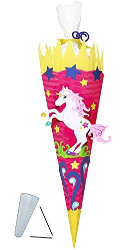 alles-meine.de GmbH BASTELSET Schultüte -  Einhorn Pferd  - 85 cm - mit / ohne Kunststoff Spitze - Zuckertüte zum selber Basteln - 6 eckig Mädchen Einhörner Pink Blumen Pferde