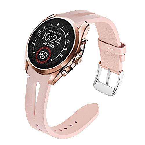 LvBu Armband Kompatibel mit Michael Kors Bradshaw 2, Quick Release Leder Classic Ersatz Uhrenarmband für Michael Kors Access Gen 5 Bradshaw Smartwatch (Pink)