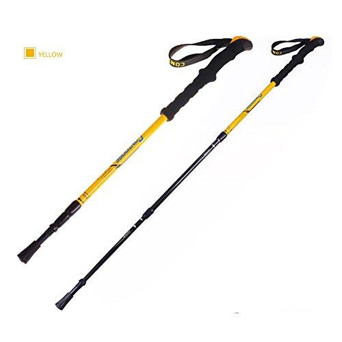 Lmzyan Gilet de randonnée en fibre de carbone extérieur, hauteur réglable 65-135cm Poignée droite Poteaux de marche , Yellow