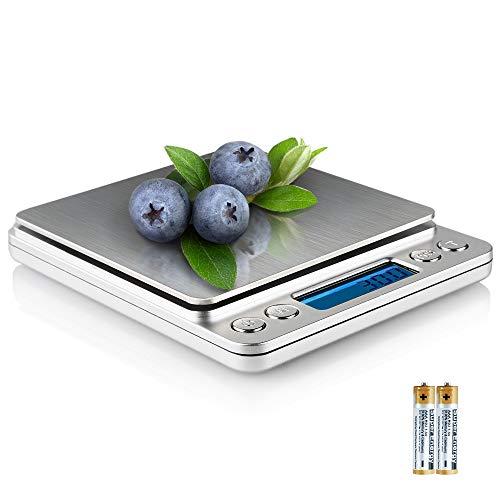 QQPOW Mini Báscula Digital para Cocina Balanza de Alimentos Multifuncional Peso de Cocina con 2 Bandejas de Pesaje Peso de Cocina (Baterías Incluidas)