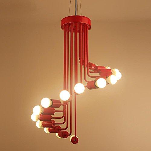 escaleras de caracol en hierro forjado vintage americana araña/Personalidad creativa arte minimalista salón lámpara-C