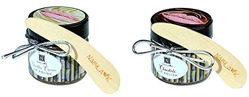 N Nabila K Cocolate and Vanilla Cream Lip Polish, Honey and Vitamin E, Exfoliates and Mositurizes, Spatula Included, Two Pack, 1 of Each Flavor