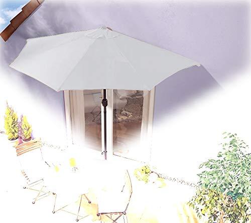 IMC parasol halfrond grijs balkon met zwengel wandscherm marktscherm balkonscherm zonnescherm half scherm