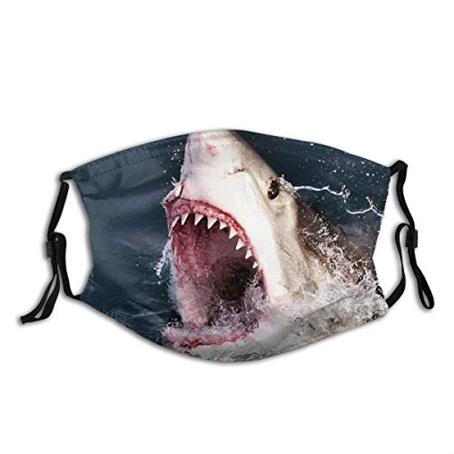 KIENGG Great White Shark 3D Shark Bite Mouth Mask Unisex Reusable Washable Face Cover Fashion Protect for Dust Face Scarf Bandana with Two Filters