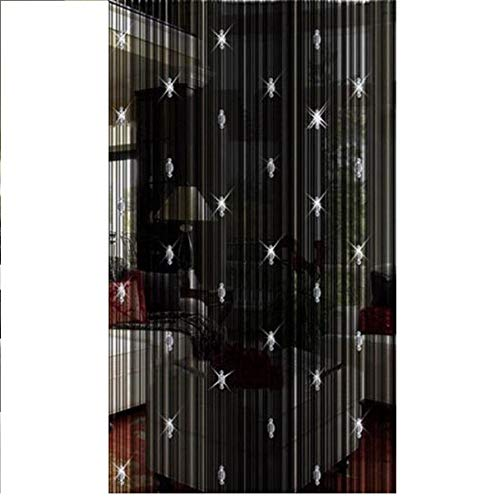 GREENWISH String Curtains Black Beads Curtains Doorway Tassel Curtain Thread Fringe Crystal Door String Curtain Beads Window Panel Room Divider Curtain for Doorway Home Decoration (3.28 X 6.56 ft)