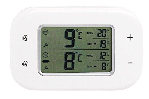 Rosenstein & Söhne Kühlschrank Alarm: Digitales Kühl- & Gefrierschrank-Thermometer, 2 Funk-Sensoren, weiß (Kühlschrankthermometer Funk)