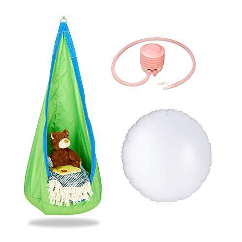 Relaxdays, grün-blau Hängehöhle Kinder, robuster Stoff, Indoor und Outdoor, 140x55cm, bis 70kg, Hängesack mit Haken-Öse