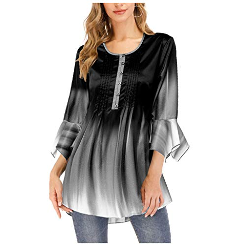 MRULIC Neu Damen Rundhals Geripptes Sleeve Casual Falten Kurzarm T-Shirt mit Stretch Top(Z5-Dunkelblau,EU-40/CN-M)