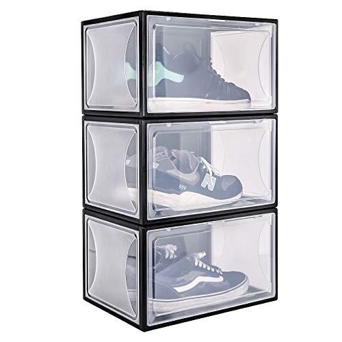 Yorbay Pudełko na buty, 3 szt. plastikowe pudełka do przechowywania butów organizer z przezroczystymi drzwiami i magnetyczną klamrą 37 x 25 x 20,5 cm dla kobiet mężczyzn rozmiary do 13, czarny, wielokrotnego użytku