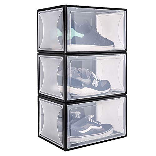 Yorbay Schuhbox, 3er Set, stapelbarer Schuhorganizer, Kunststoffbox mit durchsichtiger Tür, Mehrweg Schuhaufbewahrung, 37 x25 x 20.5cm, für Schuhe bis Größe 48, Schwarz