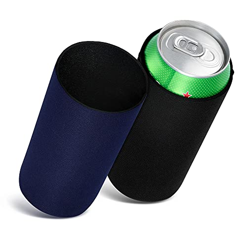 kwmobile Fundas de Neopreno compatibles con 500ml Can -2X Cubierta enfriadora de latas Cerveza refresco Negro/Azul Oscuro
