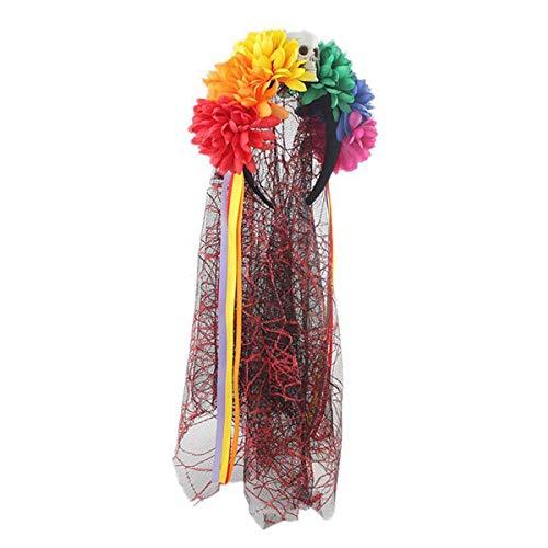 Cisne 2013, S.L. Diadema con Flores Multicolor y Velo Negro y Rojo Día de los Muertos Halloween. Banda para el Pelo Halloween Calavera.
