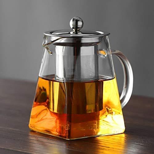 Tetera de cristal con infusor, tetera de cristal resistente al calor con infusor extraíble, de borosilicato transparente, para té de hojas sueltas y té floreciente, 750 ml