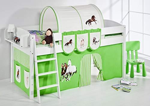 Lilokids Spielbett IDA 4105 Pferde Grün Beige-Teilbares Systemhochbett weiß-mit Vorhang Kinderbett, Holz, 208 x 98 x 113 cm