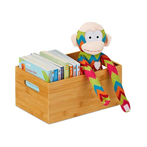 Relaxdays Bamboo Storage Box, Stable, Open, Organiser Box without Lid, HxWxD: 14 x 30 x 20 cm, Bamboo Box, Natural, 1 Piece